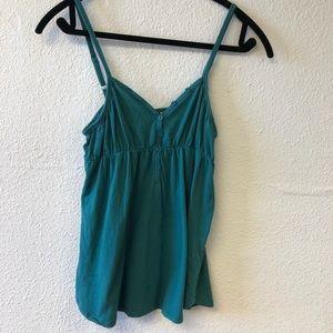 Rip Curl Blue Green V-Neck Cami Tank Button Medium